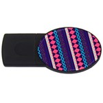 Purple And Pink Retro Geometric Pattern USB Flash Drive Oval (4 GB)  Front