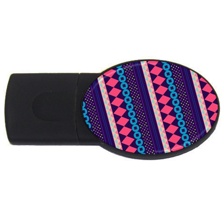 Purple And Pink Retro Geometric Pattern USB Flash Drive Oval (4 GB)