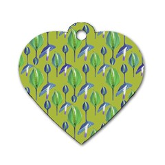 Tropical Floral Pattern Dog Tag Heart (Two Sides)