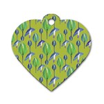 Tropical Floral Pattern Dog Tag Heart (Two Sides) Front
