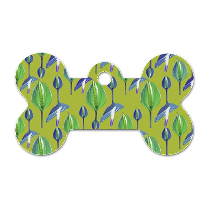 Tropical Floral Pattern Dog Tag Bone (One Side)