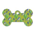Tropical Floral Pattern Dog Tag Bone (Two Sides) Back