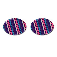 Purple And Pink Retro Geometric Pattern Cufflinks (Oval)