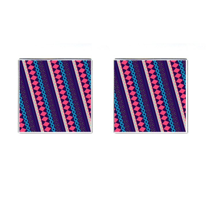 Purple And Pink Retro Geometric Pattern Cufflinks (Square)
