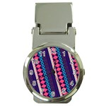 Purple And Pink Retro Geometric Pattern Money Clip Watches Front