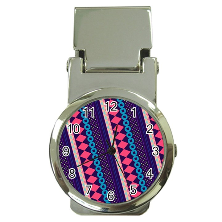 Purple And Pink Retro Geometric Pattern Money Clip Watches