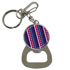 Purple And Pink Retro Geometric Pattern Bottle Opener Key Chains