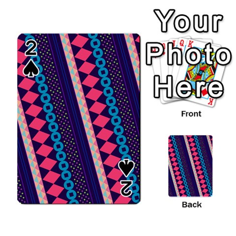 Purple And Pink Retro Geometric Pattern Playing Cards 54 Designs