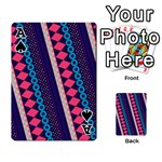 Purple And Pink Retro Geometric Pattern Playing Cards 54 Designs  Front - SpadeA