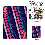 Purple And Pink Retro Geometric Pattern Playing Cards 54 Designs  Front - Heart8
