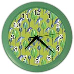 Tropical Floral Pattern Color Wall Clocks Front