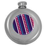 Purple And Pink Retro Geometric Pattern Round Hip Flask (5 oz) Front