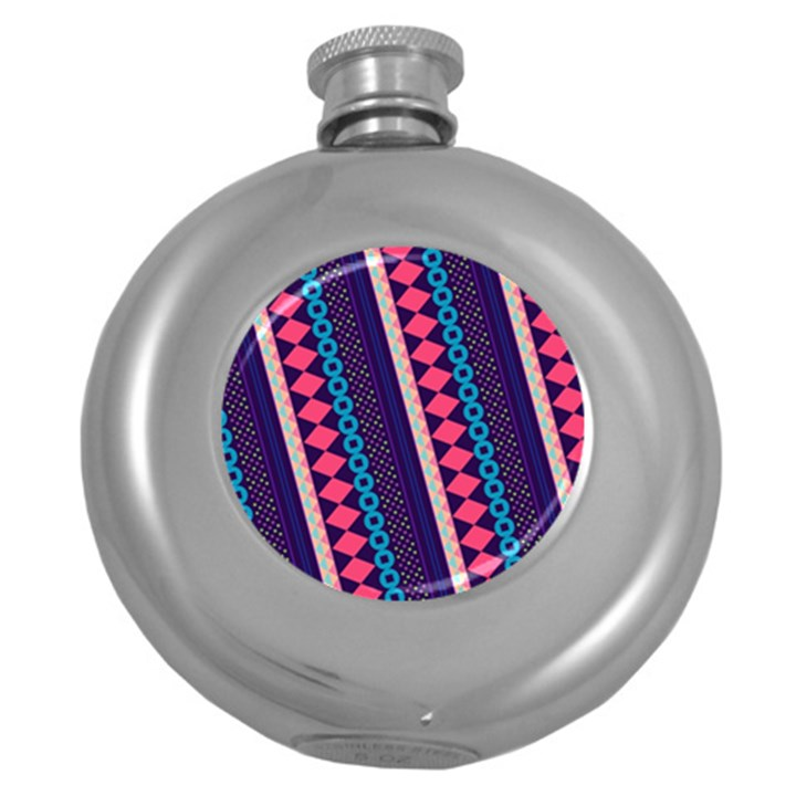 Purple And Pink Retro Geometric Pattern Round Hip Flask (5 oz)