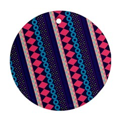 Purple And Pink Retro Geometric Pattern Round Ornament (two Sides)