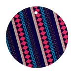 Purple And Pink Retro Geometric Pattern Round Ornament (Two Sides)  Front