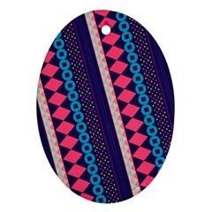 Purple And Pink Retro Geometric Pattern Oval Ornament (Two Sides)