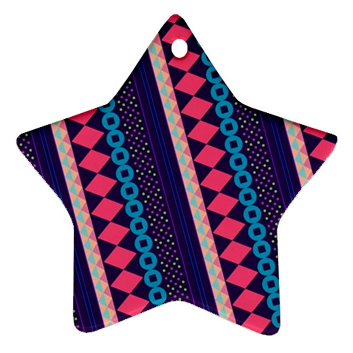 Purple And Pink Retro Geometric Pattern Star Ornament (Two Sides)
