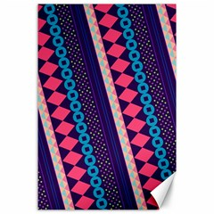 Purple And Pink Retro Geometric Pattern Canvas 24  X 36