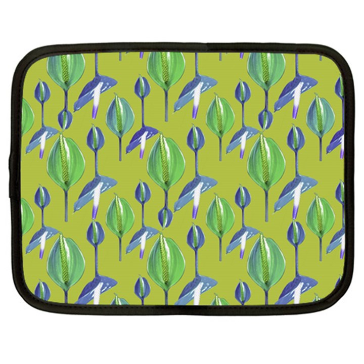 Tropical Floral Pattern Netbook Case (Large)