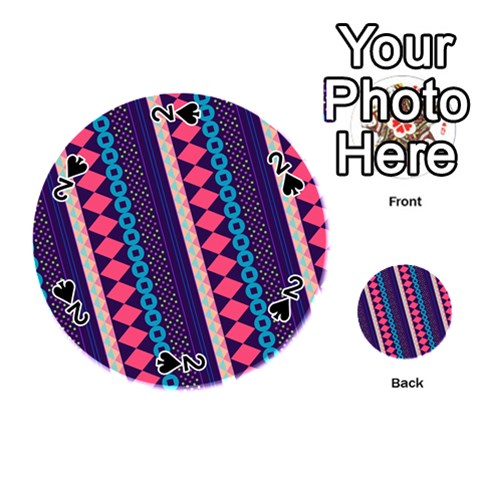 Purple And Pink Retro Geometric Pattern Playing Cards 54 (Round)