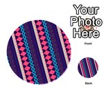 Purple And Pink Retro Geometric Pattern Playing Cards 54 (Round)  Back