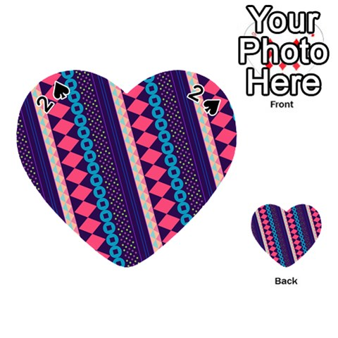 Purple And Pink Retro Geometric Pattern Playing Cards 54 (Heart)
