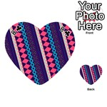 Purple And Pink Retro Geometric Pattern Playing Cards 54 (Heart)  Front - Club8