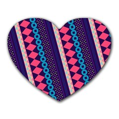 Purple And Pink Retro Geometric Pattern Heart Mousepads