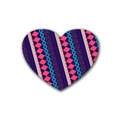 Purple And Pink Retro Geometric Pattern Rubber Coaster (Heart)