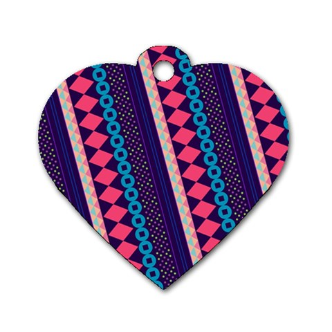 Purple And Pink Retro Geometric Pattern Dog Tag Heart (One Side)