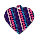 Purple And Pink Retro Geometric Pattern Dog Tag Heart (Two Sides) Back