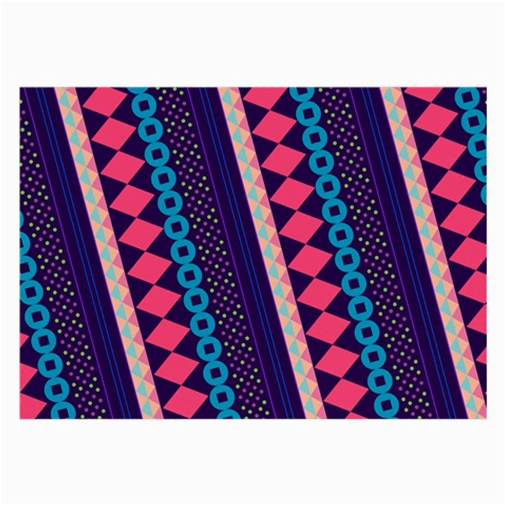 Purple And Pink Retro Geometric Pattern Large Glasses Cloth (2-Side)