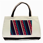 Purple And Pink Retro Geometric Pattern Basic Tote Bag (Two Sides) Back