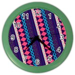 Purple And Pink Retro Geometric Pattern Color Wall Clocks Front