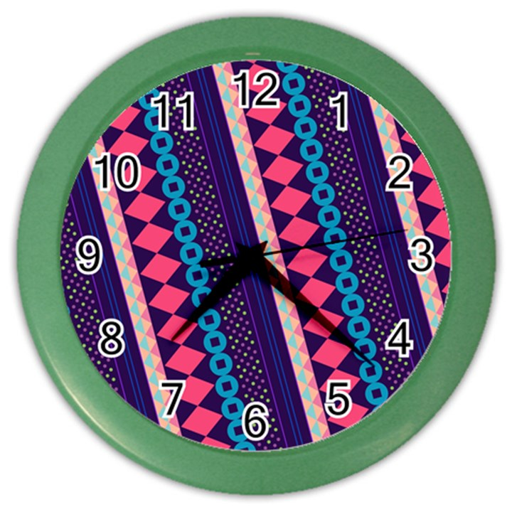 Purple And Pink Retro Geometric Pattern Color Wall Clocks