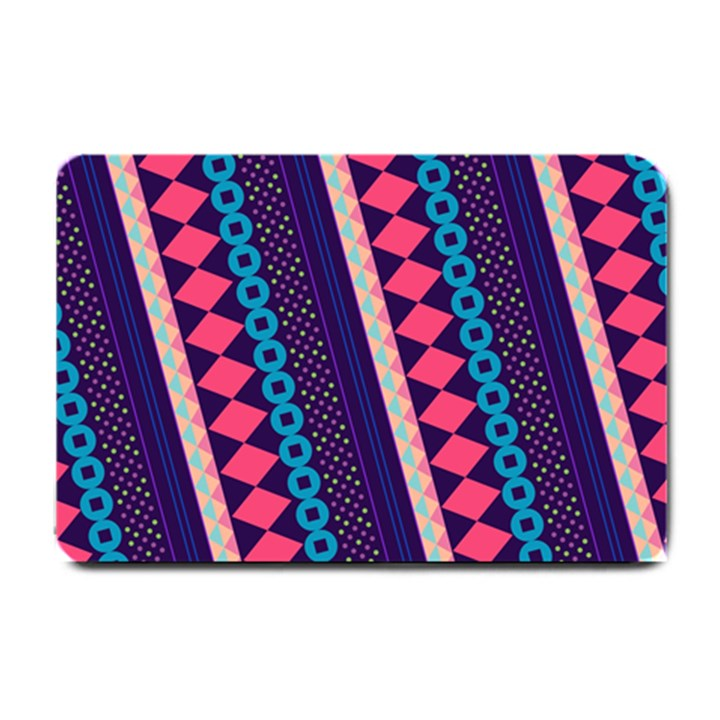 Purple And Pink Retro Geometric Pattern Small Doormat