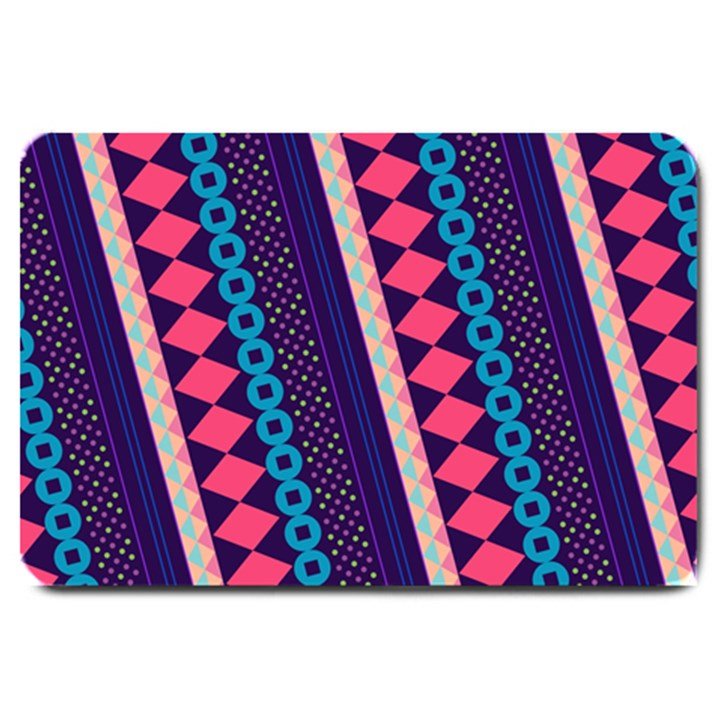 Purple And Pink Retro Geometric Pattern Large Doormat