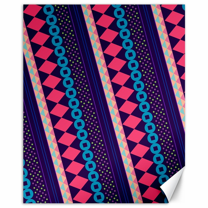 Purple And Pink Retro Geometric Pattern Canvas 11  x 14