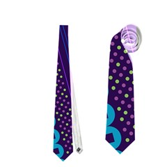 Purple And Pink Retro Geometric Pattern Neckties (one Side)