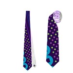 Purple And Pink Retro Geometric Pattern Neckties (Two Side)  Front
