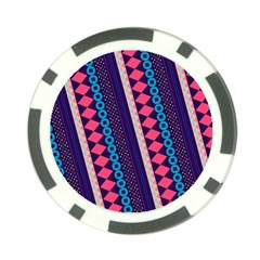 Purple And Pink Retro Geometric Pattern Poker Chip Card Guards