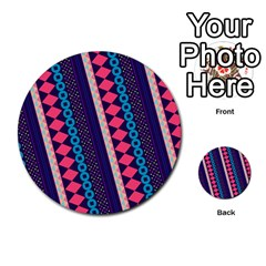 Purple And Pink Retro Geometric Pattern Multi Purpose Cards (round)