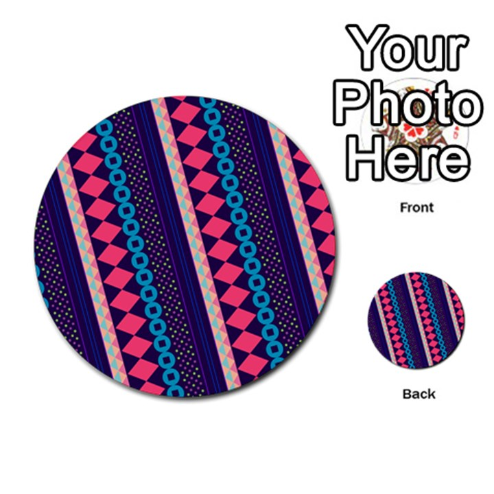 Purple And Pink Retro Geometric Pattern Multi-purpose Cards (Round)
