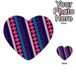 Purple And Pink Retro Geometric Pattern Multi-purpose Cards (Heart)  Front 1