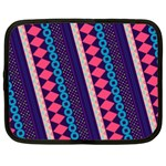 Purple And Pink Retro Geometric Pattern Netbook Case (Large) Front