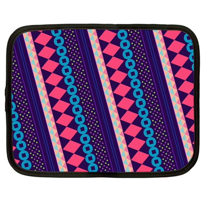 Purple And Pink Retro Geometric Pattern Netbook Case (Large)
