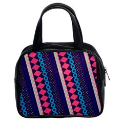 Purple And Pink Retro Geometric Pattern Classic Handbags (2 Sides)