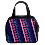 Purple And Pink Retro Geometric Pattern Classic Handbags (2 Sides) Front