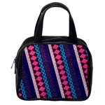 Purple And Pink Retro Geometric Pattern Classic Handbags (2 Sides) Back