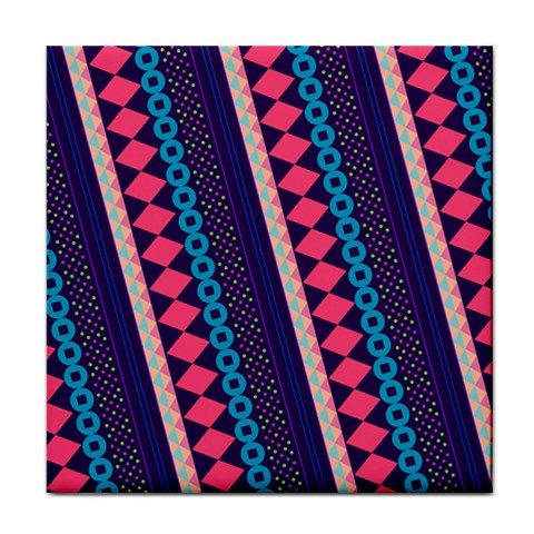 Purple And Pink Retro Geometric Pattern Face Towel